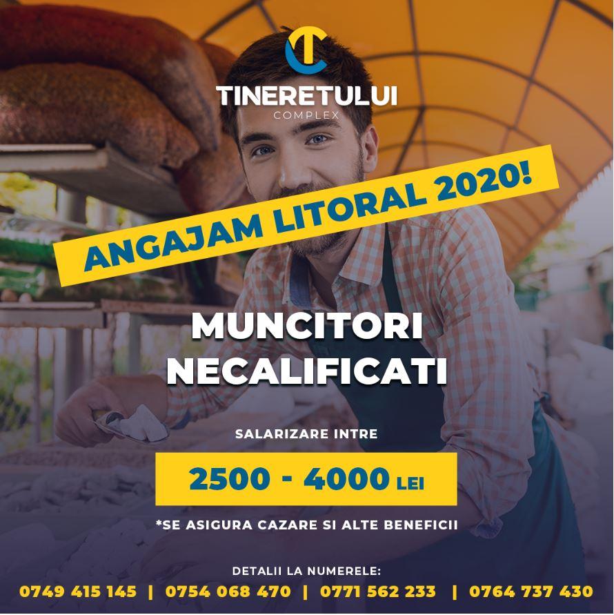 Muncitori Necalificati- Sezon Estival- Salariu 2500-4000 lei