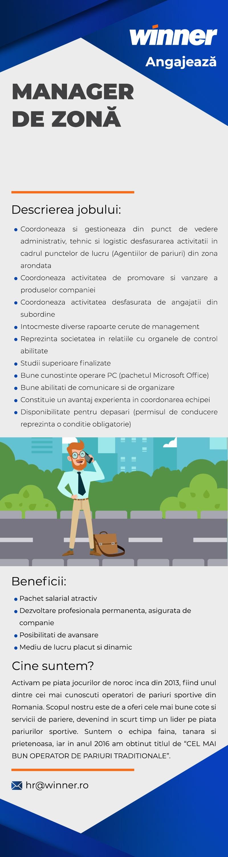 """- Studii superioare finalizate; - Cunostinte operare PC: Word, Excel, Outlook, internet; - Competente in luarea deciziilor si asumarea responsabilitatilor; - Abilitati de comunicare; - Abilitati de organizare; - Orientat spre obtinerea de profit ; - Discernamant si capacitatea de a rezolva probleme; - Minim trei ani experienta in coordonarea si supravegherea unui colectiv de minim 5-10 persoane (avantaj); - Permis de conducere (obligatoriu). - Coordoneaza si gestioneaza sub toate aspectele (administrativ, tehnic, logistic) desfasurarea activitatii in cadrul punctelor de lucru (agentiilor de pariuri) din zona de responsabilitate; - Identifica spatii comerciale in zone care prezinta potential din punctul de vedere al desfasurarii activitatii de pariuri sportive, in vederea deschiderii de noi puncte de lucru (agentii de pariuri) si/sau relocarii celor existente; - Supravegheaza si coordoneaza activitatea desfasurata de angajatii din subordine; - Intocmeste diverse rapoarte cerute de catre conducerea societatii, in legatura cu activitatea desfasurata; - Reprezinta societatea in relatiile cu tertii.  Beneficii: - Pachet salarial atractiv; - Perioada de training si acomodare; - Instruire permanenta asigurata de companie; - Posibilitati de avansare; - Mediu de lucru placut si dinamic; - Asigurare medicala. Manager de zona  Activam pe piata jocurilor de noroc inca din 2013, fiind unul dintre cei mai cunoscuti operatori de pariuri sportive din Romania. Scopul nostru este de a oferi cele mai bune cote si servicii de pariere, devenind in scurt timp un lider pe piata pariurilor sportive.  Suntem o echipa faina, oamenii sunt tineri, prietenosi si de treaba!  Nu vrem sa ne laudam dar in anul 2016 am castigat titlul de """"CEL MAI BUN OPERATOR DE PARIURI TRADITIONALE""""."""