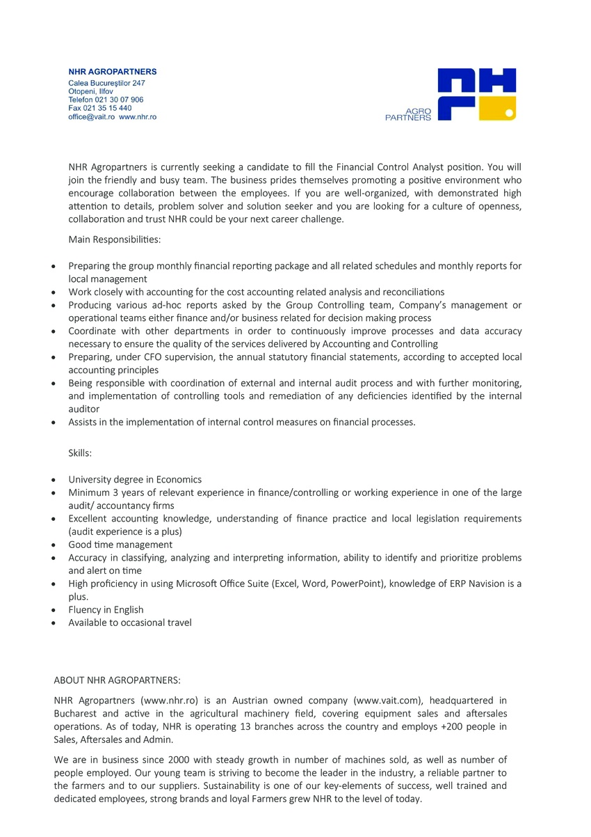 NHR Agropartners is currently seeking a candidate to fill the Financial Control Analyst position.