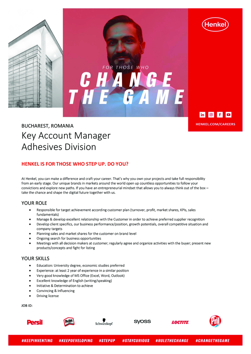 Key Account Manager Adhesives Division  At Henkel, you can make a difference and craft your career. That's why you own your projects and take full responsibility from an early stage. Our unique brands in markets around the world open up countless opportunities to follow your convictions and explore new paths. If you have an entrepreneurial mindset that allows you to always think out of the box - take the chance and shape the digital future together with us.  YOUR ROLE  ·Responsible for target achievement according customer plan (turnover, profit, market shares, KPIs, sales fundamentals)  ·Manage & develop excellent relationship with the Customer in order to achieve preferred supplier recognition  ·Develop client specifics, our business performance/position, growth potentials, overall competitive situation and company targets  ·Planning sales and market shares for the customer on brand level  ·Ongoing search for business opportunities  ·Meetings with all decision makers at customer; regularly agree and organize activities with the buyer; present new products/concepts and fight for listing  YOUR SKILLS  ·Education: University degree, economic studies preferred  ·Experience: at least 2 year of experience in a similar position  ·Very good knowledge of MS Office (Excel, Word, Outlook)  ·Excellent knowledge of English (writing/speaking)  ·Initiative & Determination to achieve  ·Convincing & Influencing  ·Driving licenseJOB ID: 20008858 Contract & Job type: Full Time, Regular Contact information for application-related questions: human.resources@henkel.com