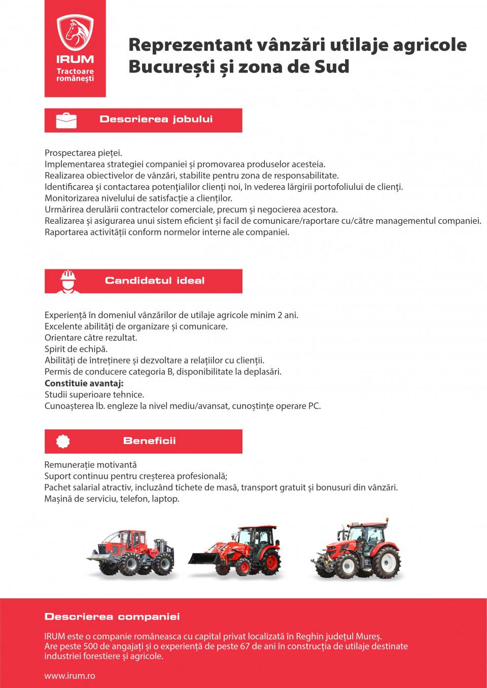 Reprezentant vânzări utilaje agricole București și zona de S