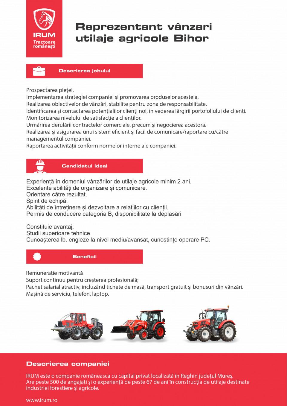 Reprezentant vânzări utilaje agricole - BH