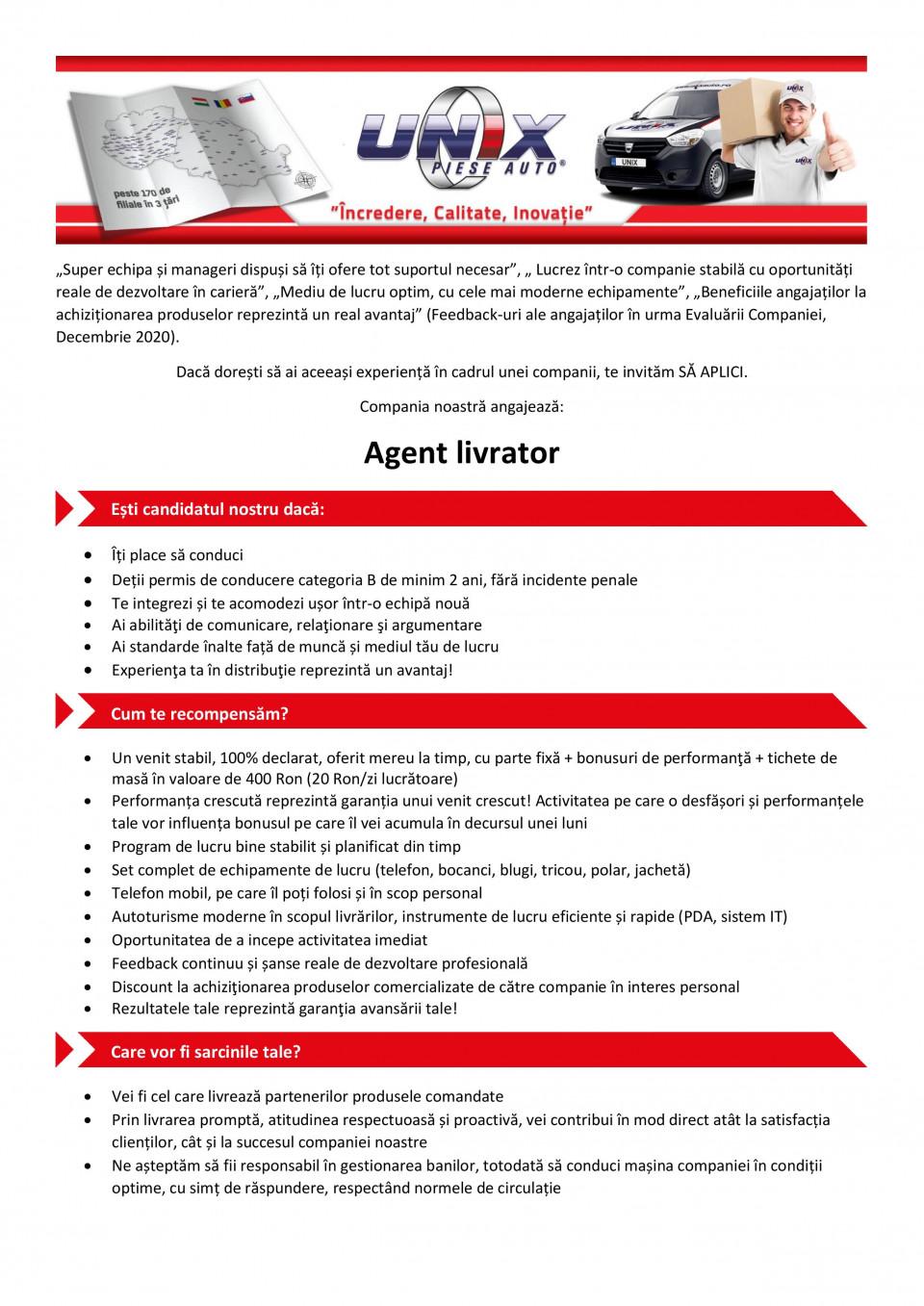 Agent livrator   Incredere, Calitate, Inovaţie
