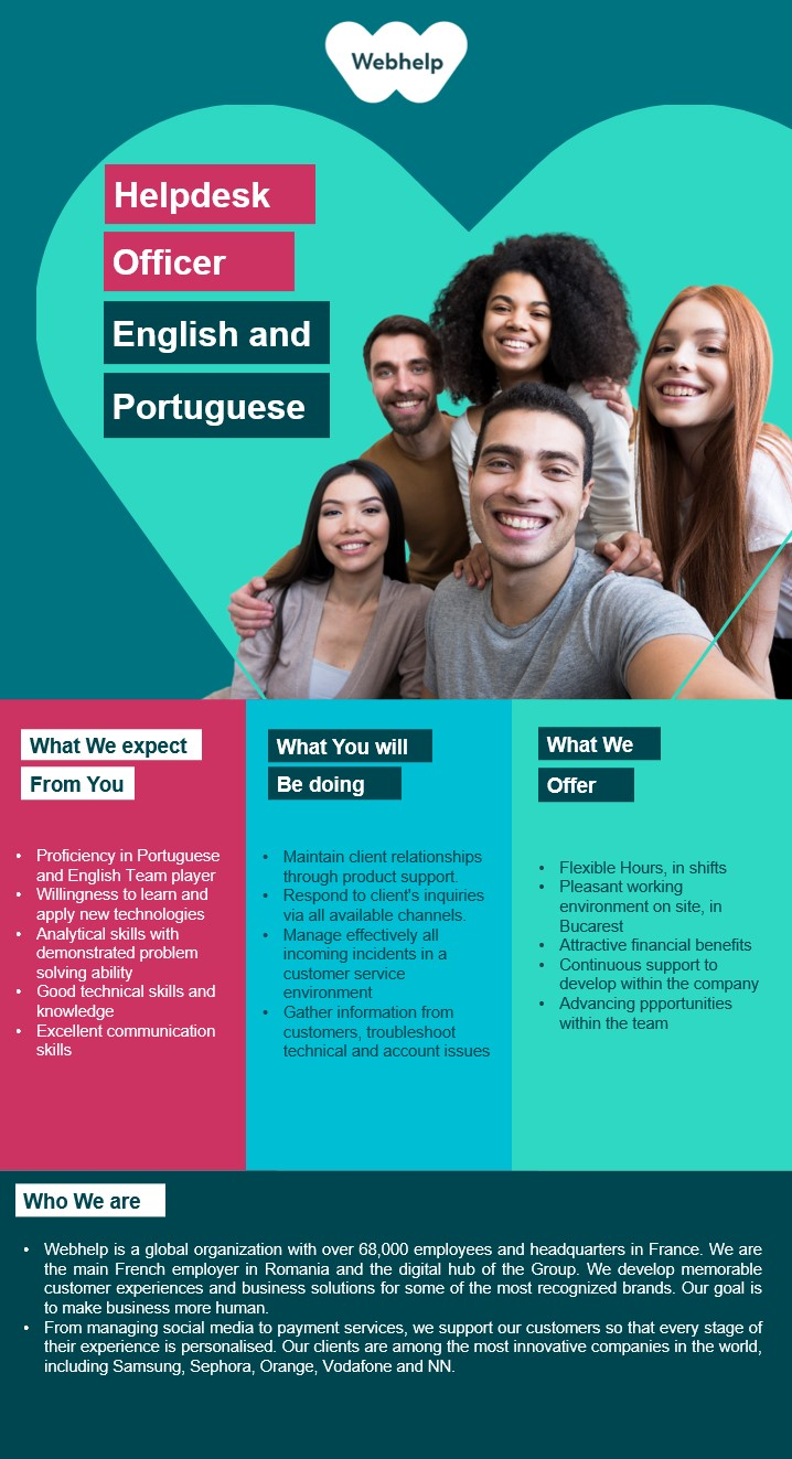 Helpdesk Officer with Portuguese and English  helpdesk, helpdesk specialist, portuguese, support, technical support, desktop support