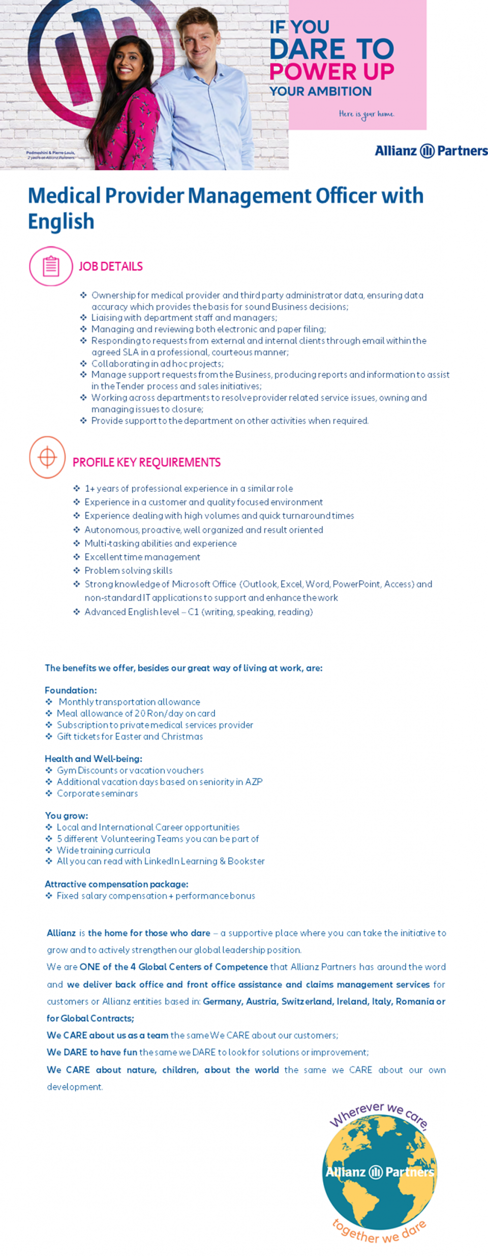 Medical Provider Management Officer with English