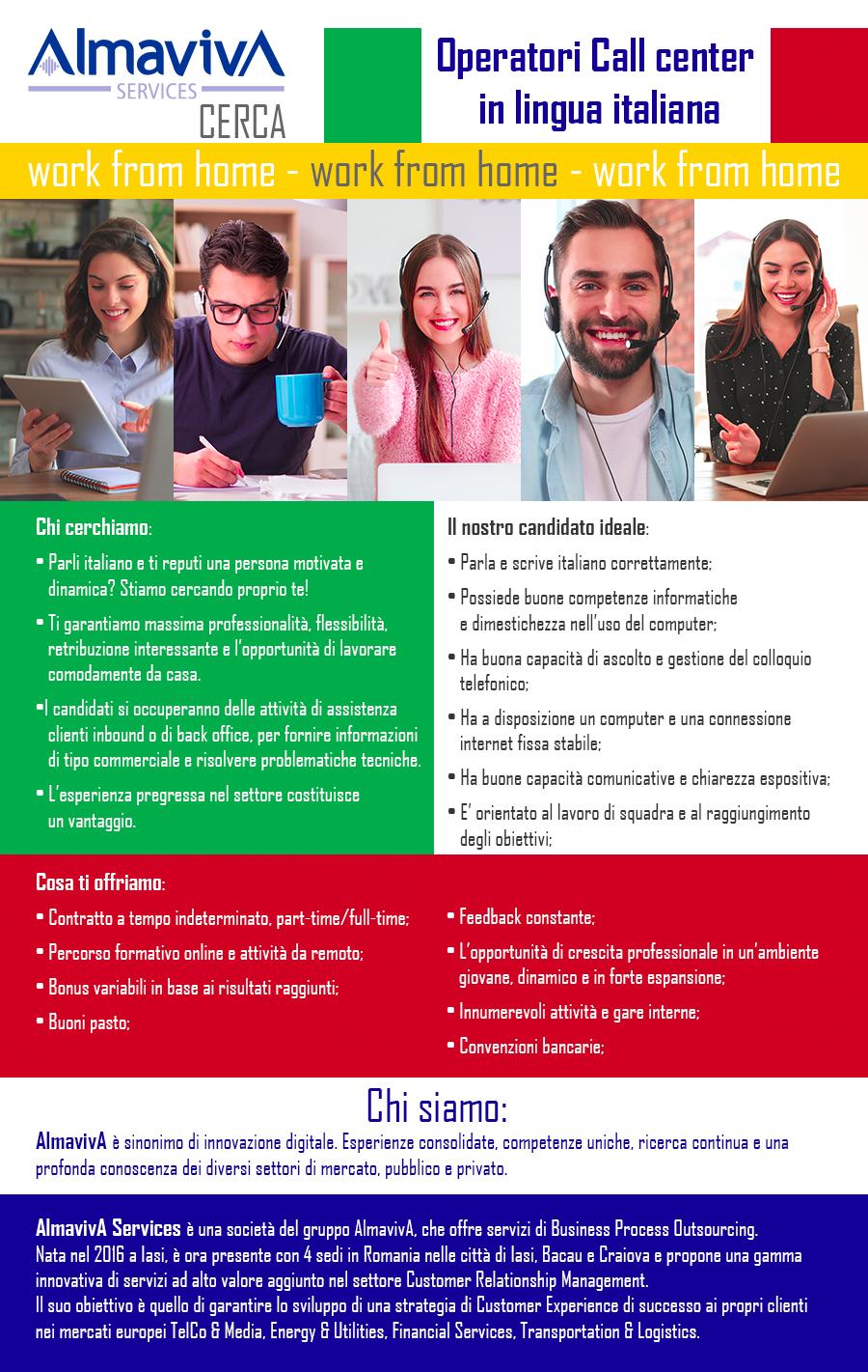 Operatore call center in lingua italiana - Work from Home