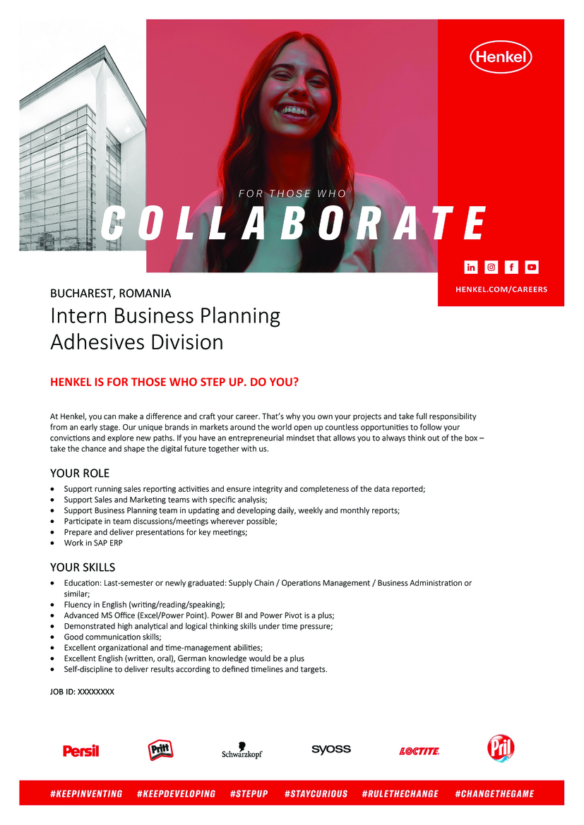 Intern Business Planning Adhesives Division HENKEL IS FOR THOSE WHO STEP UP. DO YOU? At Henkel, you can make a difference and craft your career. That's why you own your projects and take full responsibility from an early stage. Our unique brands in markets around the world open up countless opportunities to follow your convictions and explore new paths. If you have an entrepreneurial mindset that allows you to always think out of the box – take the chance and shape the digital future together with us. YOUR ROLE  Support running sales reporting activities and ensure integrity and completeness of the data reported;  Support Sales and Marketing teams with specific analysis;  Support Business Planning team in updating and developing daily, weekly and monthly reports;  Participate in team discussions/meetings wherever possible;  Prepare and deliver presentations for key meetings;  Work in SAP ERP YOUR SKILLS  Education: Last-semester or newly graduated: Supply Chain / Operations Management / Business Administration or similar;  Fluency in English (writing/reading/speaking);  Advanced MS Office (Excel/Power Point). Power BI and Power Pivot is a plus;  Demonstrated high analytical and logical thinking skills under time pressure;  Good communication skills;  Excellent organizational and time-management abilities;  Excellent English (written, oral), German knowledge would be a plus  Self-discipline to deliver results according to defined timelines and targets.
