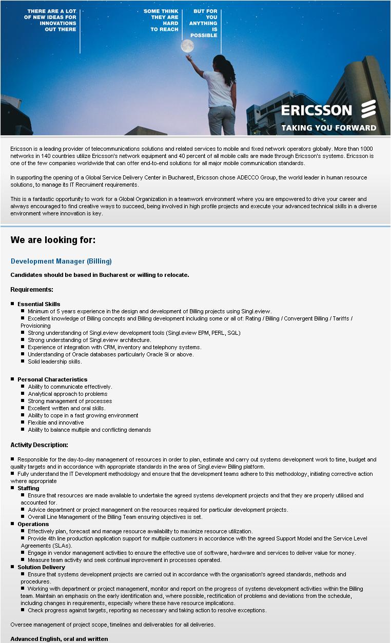 Development Manager (Billing)