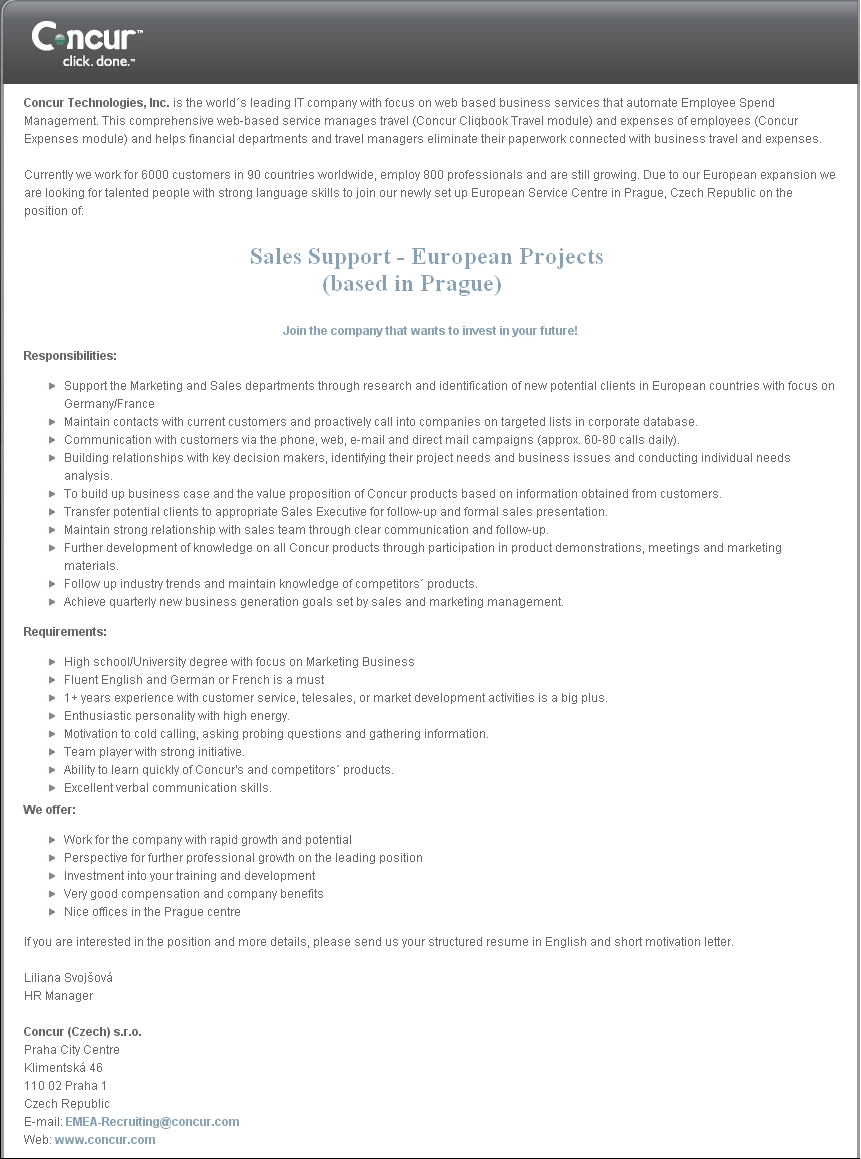 Sales Support - European Projects (based in Prague)
