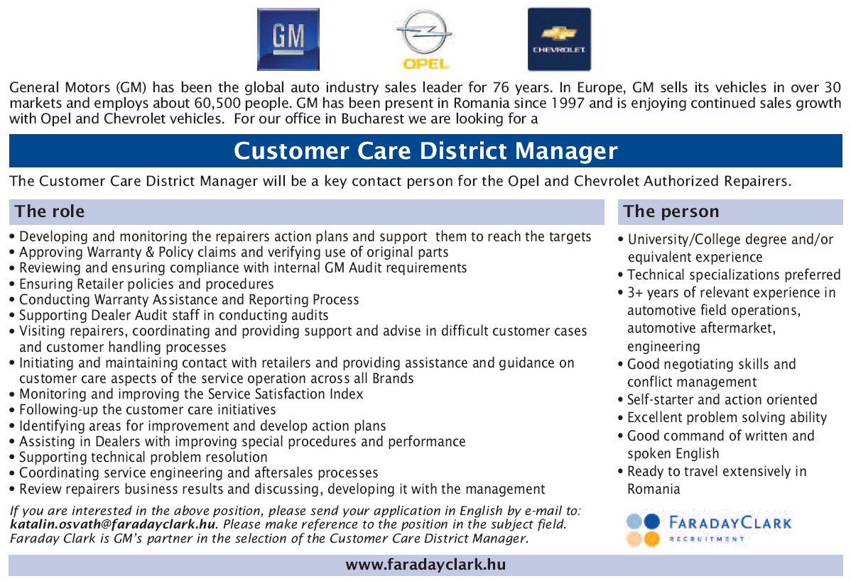 Customer Care District Manager