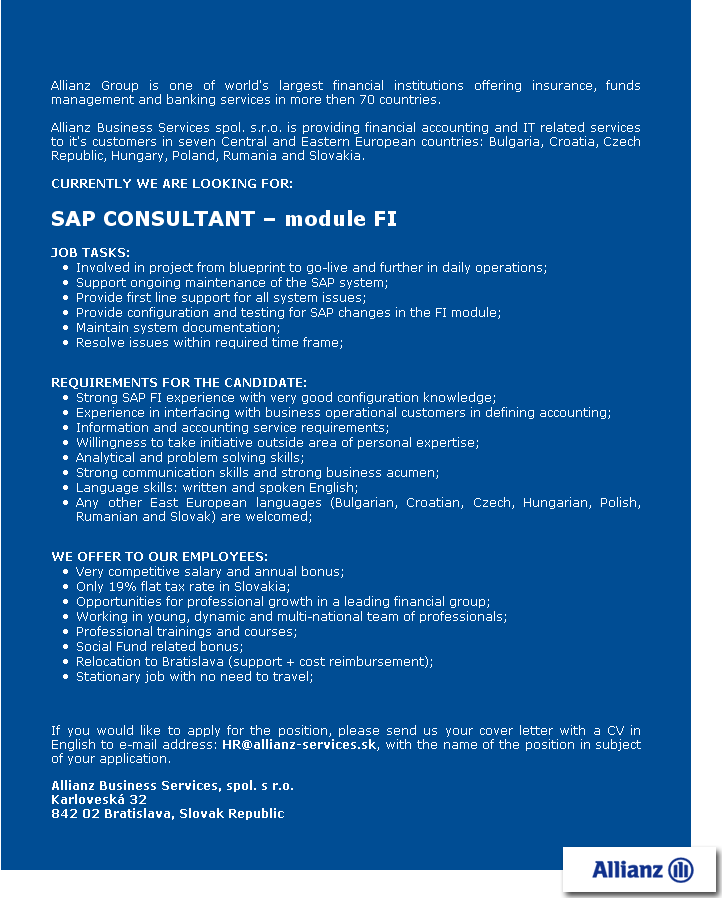 SAP CONSULTANT – module FI, Allianz Business Services, spol