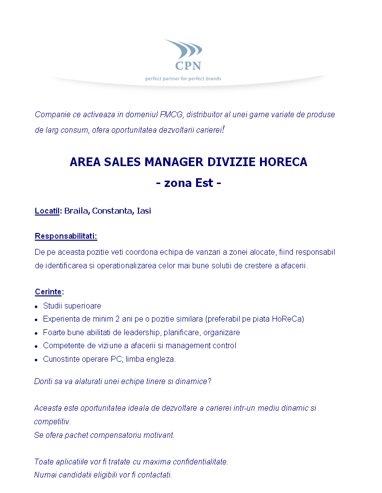 AREA SALES MANAGER DIVIZIE HORECA - zona Est