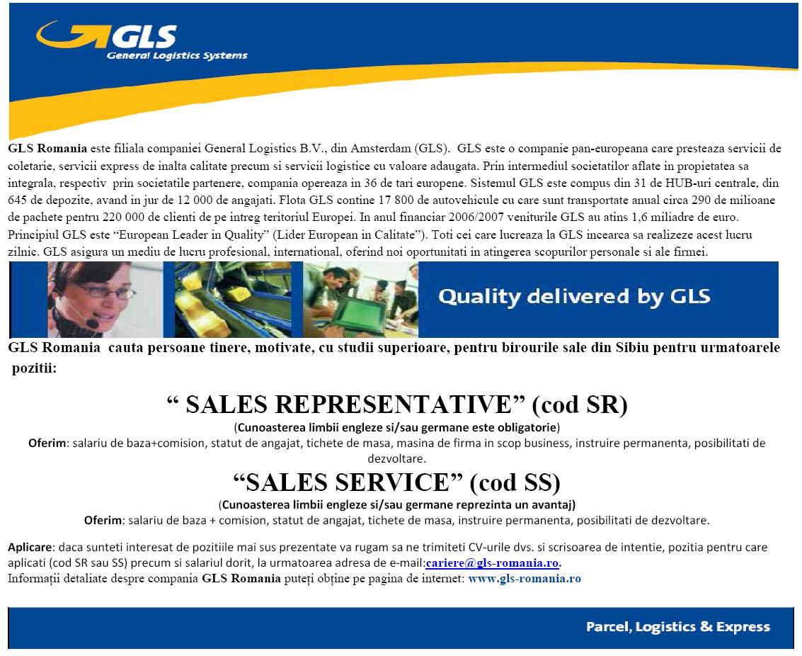 SALES REPRESENTATIVE (cod SR) SALES SERVICE (cod SS)
