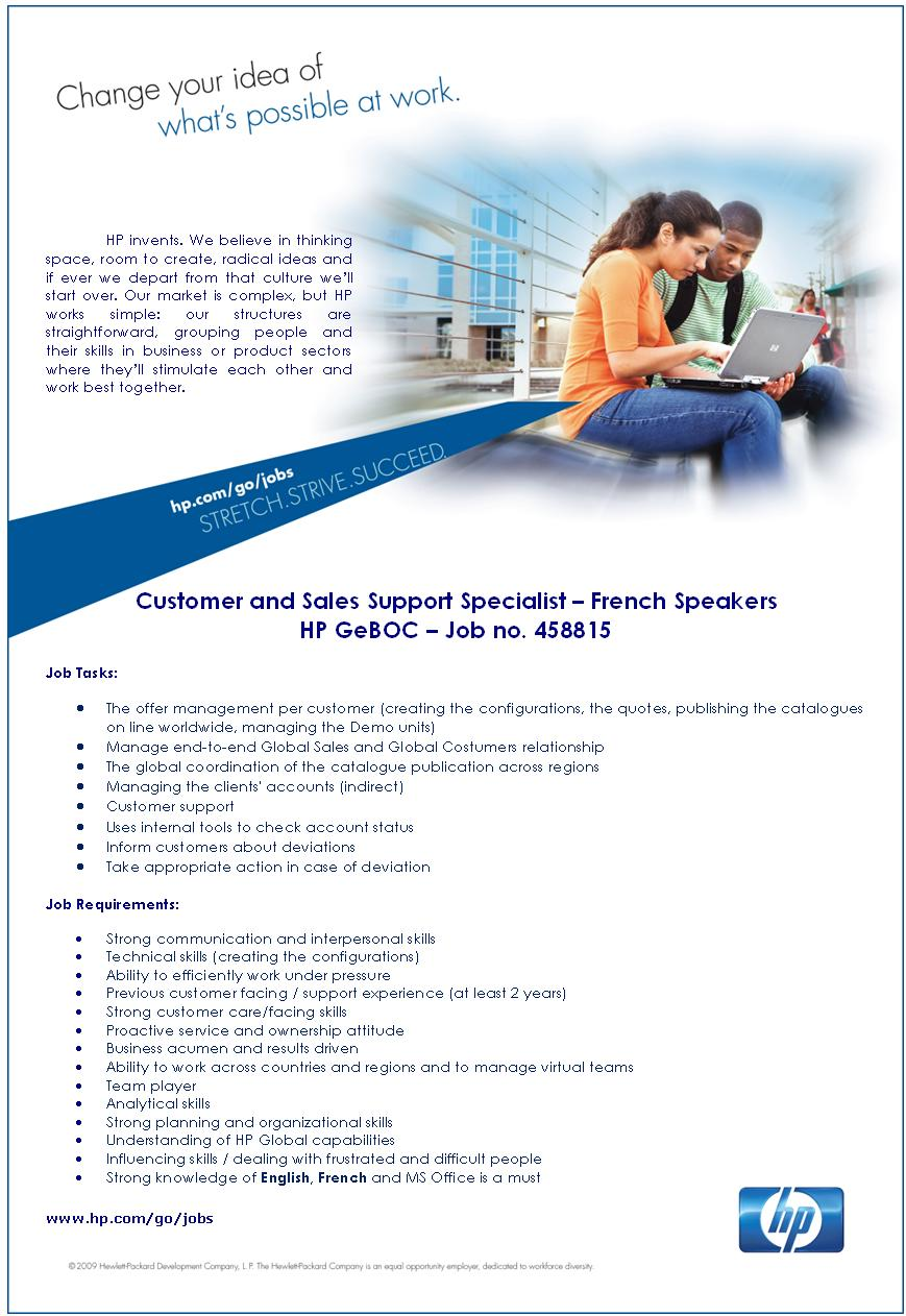 Customer and Sales Support Specialist – French Speakers HP GeBOC