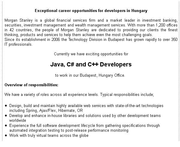 Java, C# and C++ Developers, Morgan Stanley - Apply on eJobs!