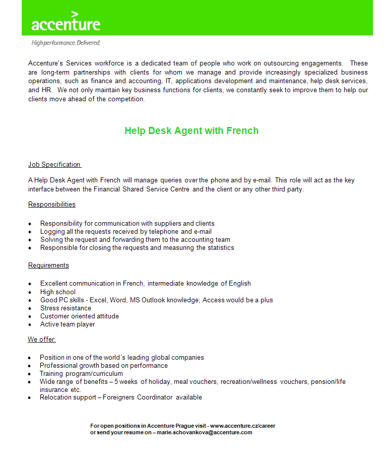Help Desk Agent with French- PRAGUE, Accenture - Apply on eJobs!