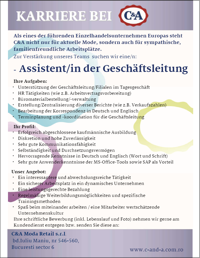 Assistent In Der Geschaftsleitung C A Moda Retail Apply On Ejobs