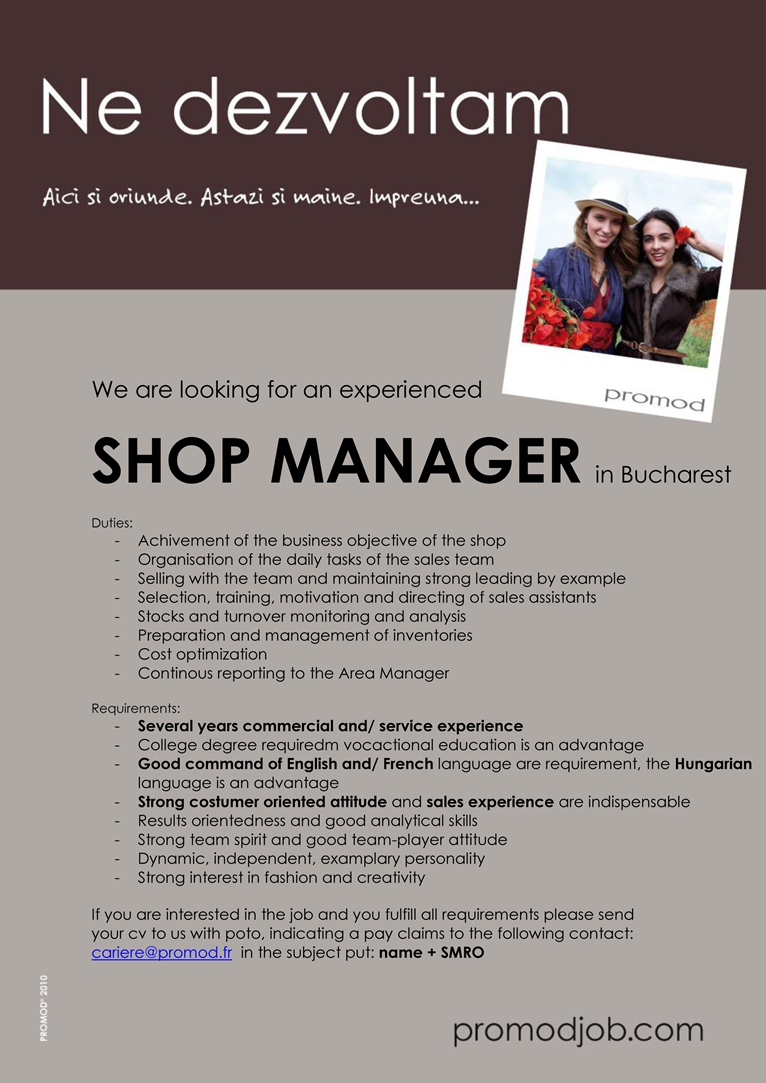 SHOP MANAGER  in Bucharest