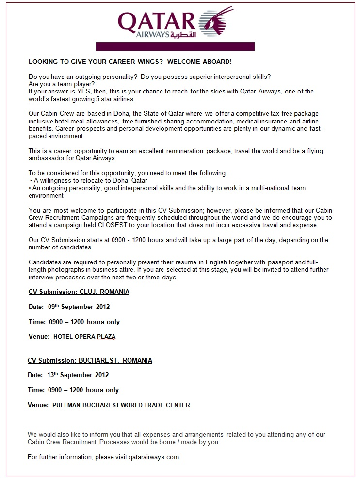 Cover Letter Qatar Airways Templates