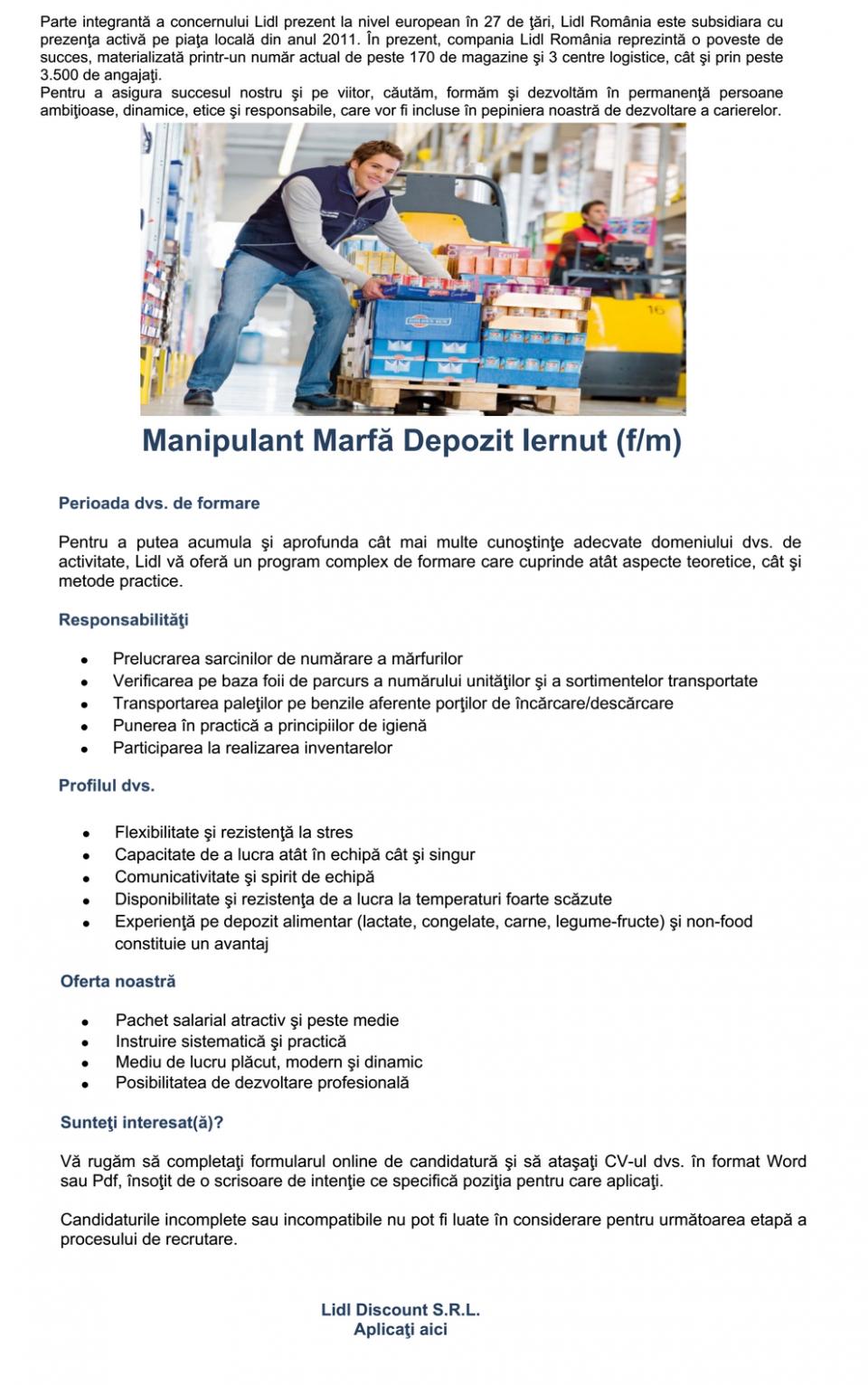 Manipulant Marfă Depozit Iernut (f/m)