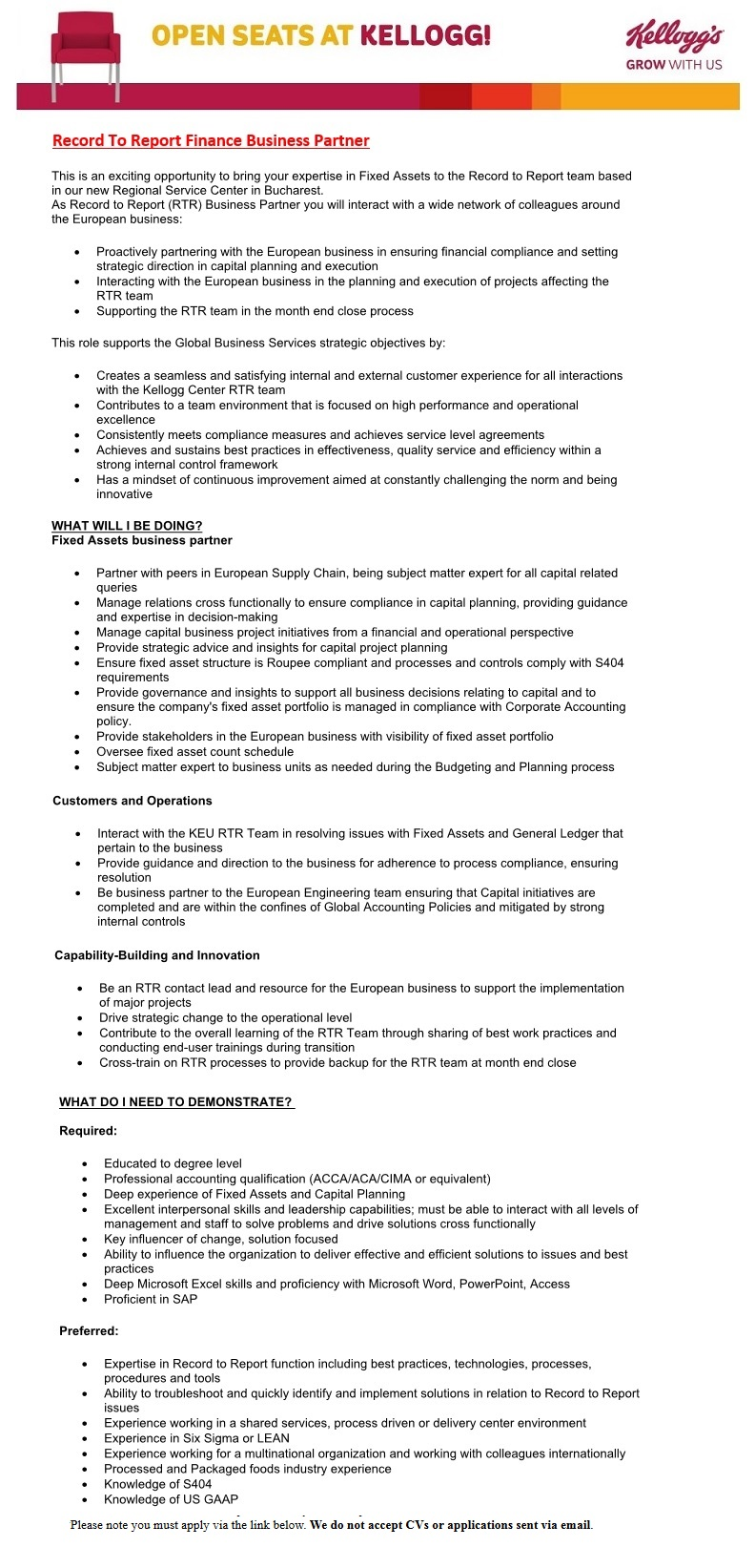 Record To Report Finance Business Partner - directly employed by
