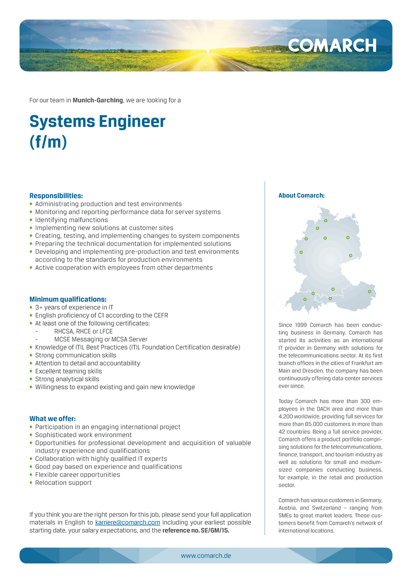 Systems Engineer (f/m), Comarch AG - Apply on eJobs!