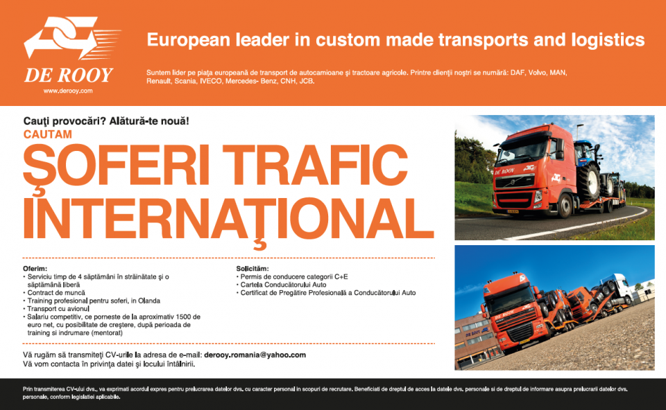 European leader in custom made transports and logisticswww.derooy.com