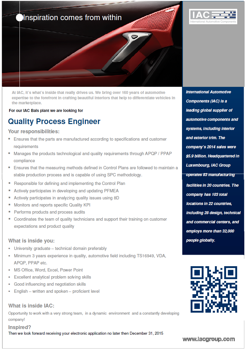 quality process engineer  international automotive