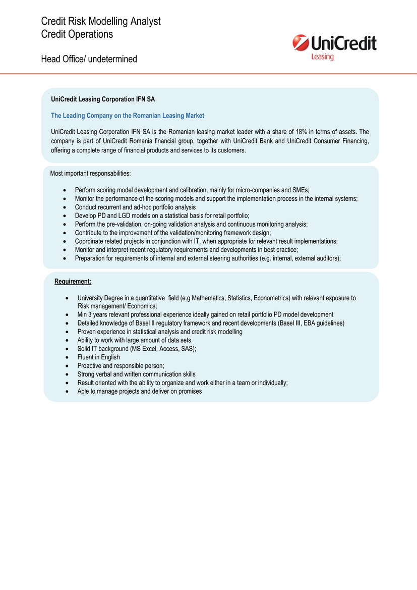 credit risk modelling analyst unicredit leasing