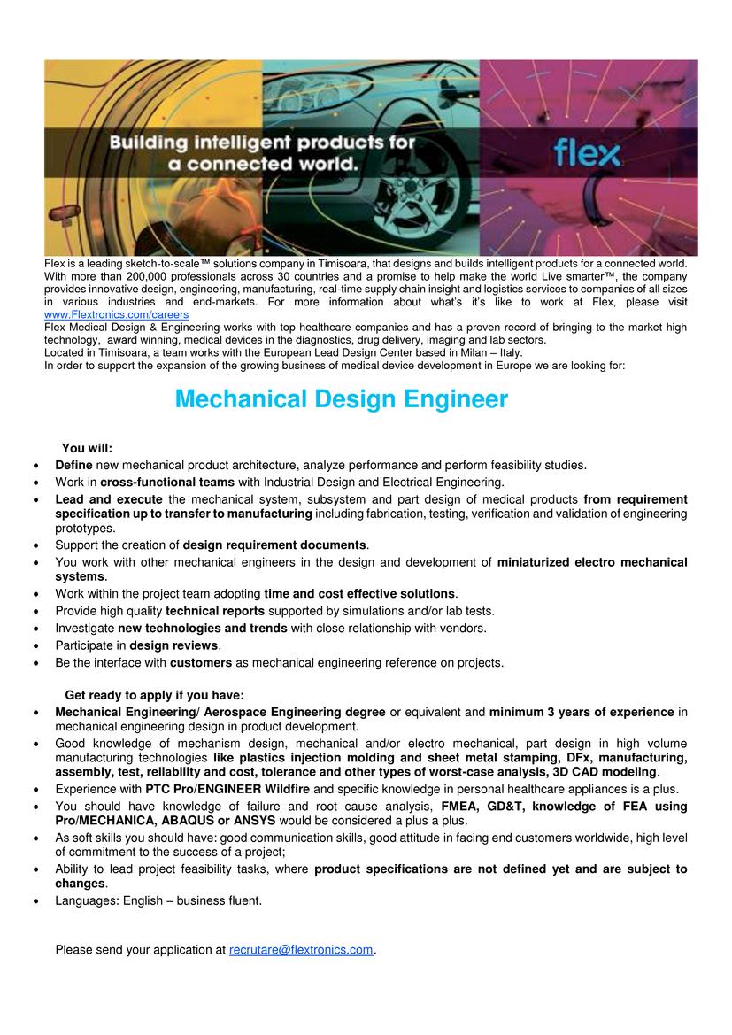 Mechanical design engineer flextronics romania srl for Mechanical product design companies
