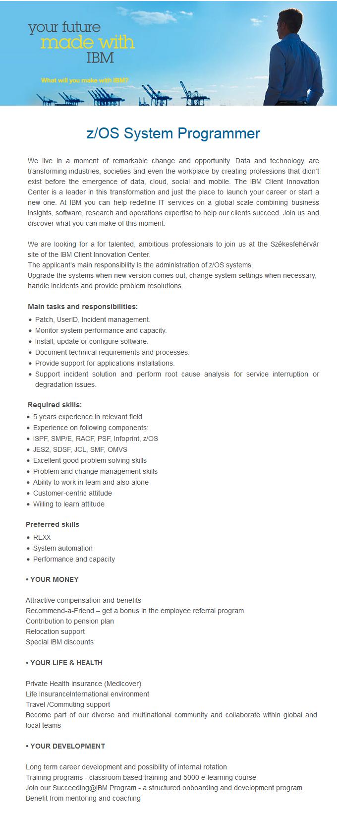 z/OS System Programmer, IBM ISSC - Apply on eJobs!