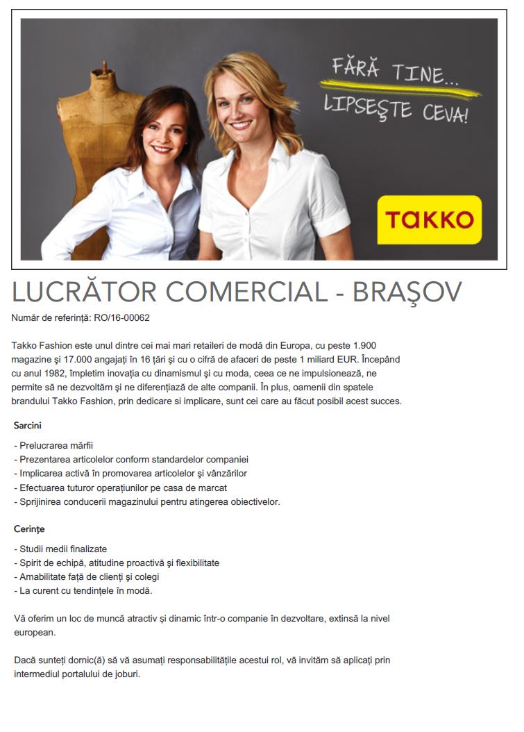 Lucrator Comercial Brasov Takko Fashion International Srl