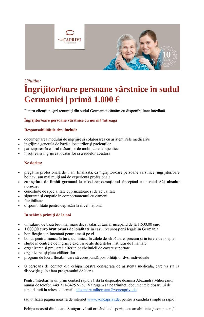 Îngrijitor/oare persoane vârstnice în sudul Germaniei | primă 1.000 €