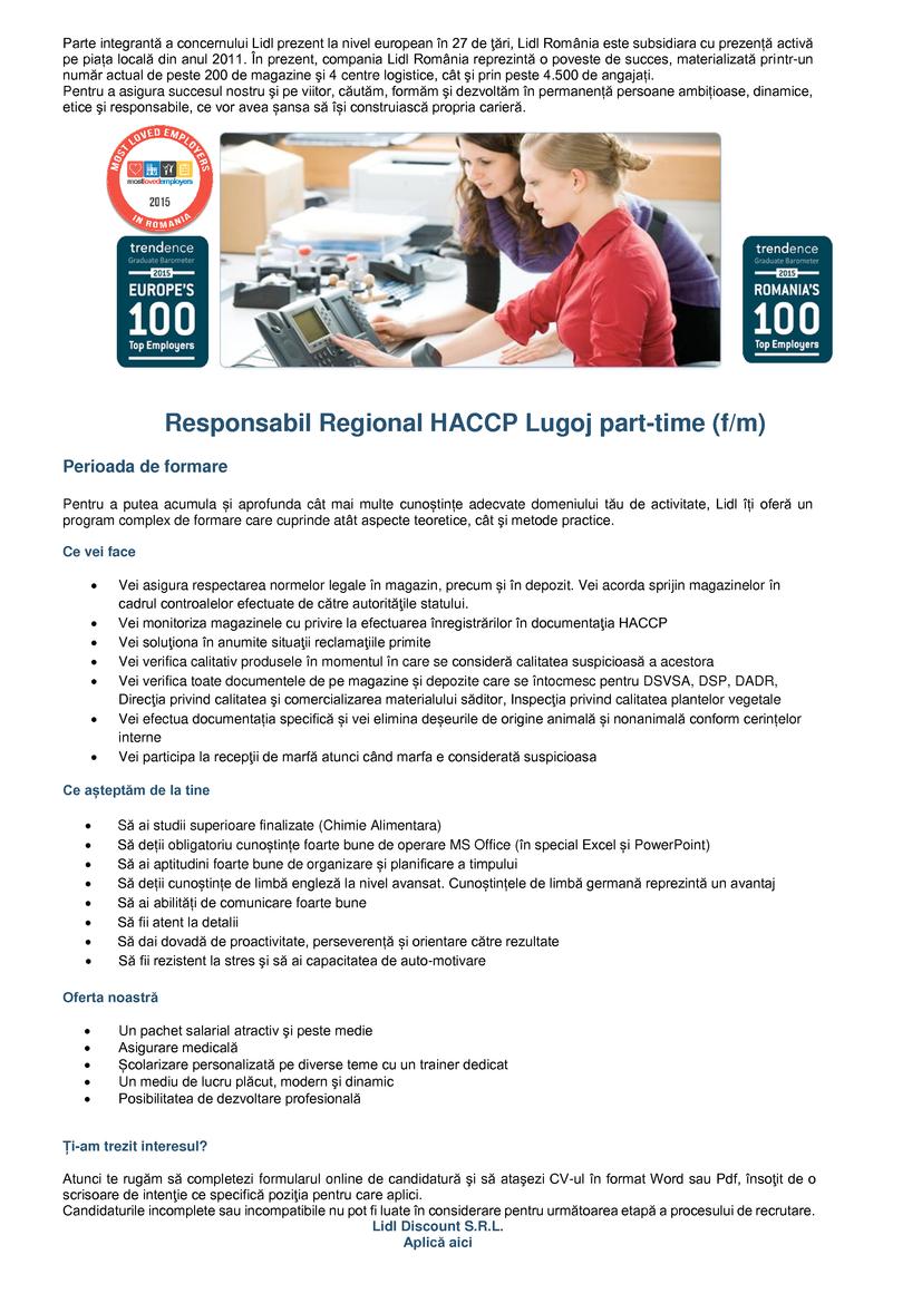 Responsabil HACCP Lugoj Part-Time (f/m)