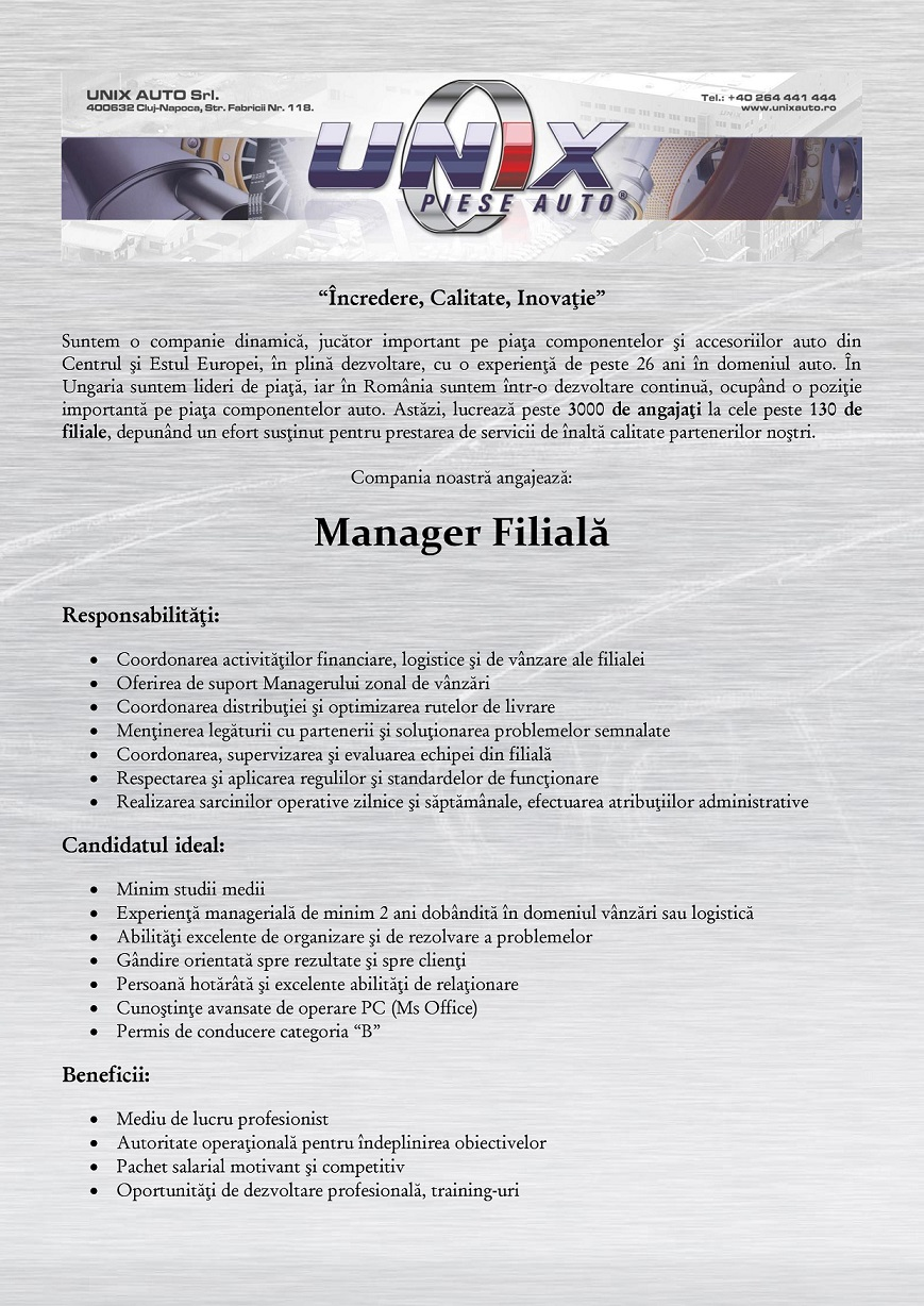 Manager Filială