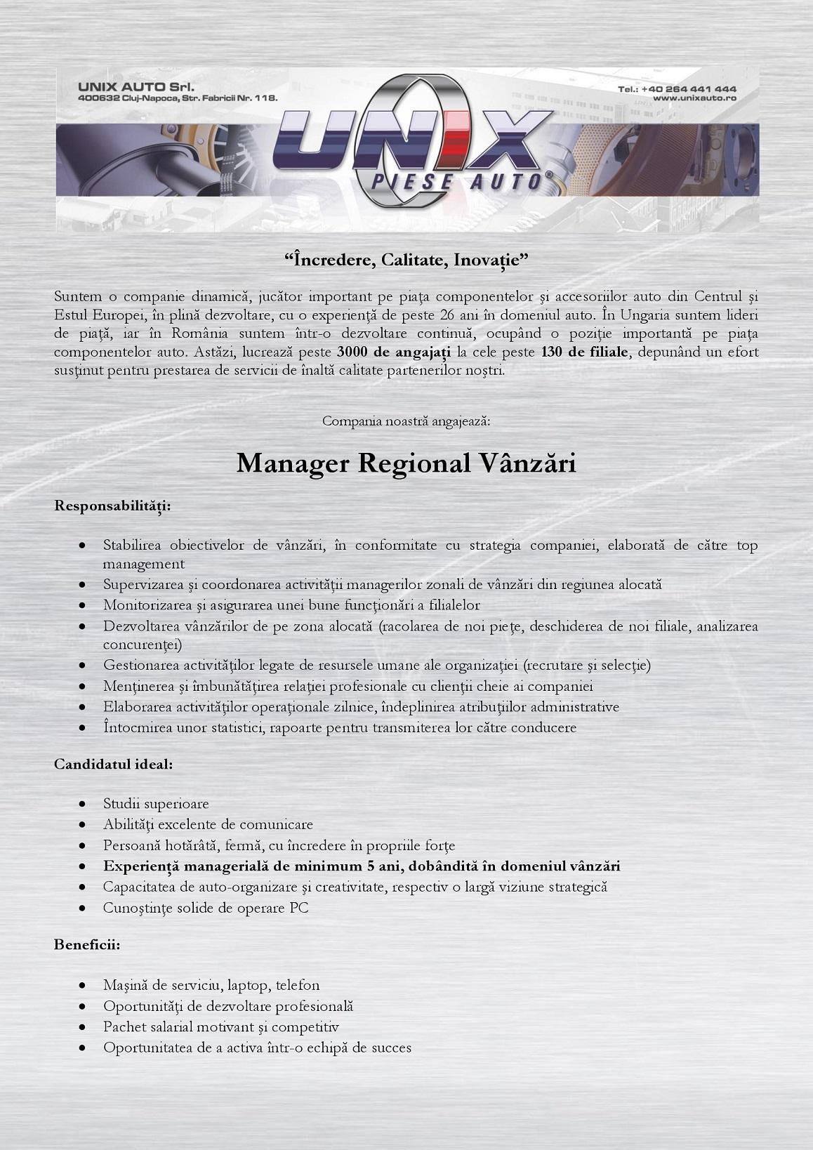Manager Regional Vânzări