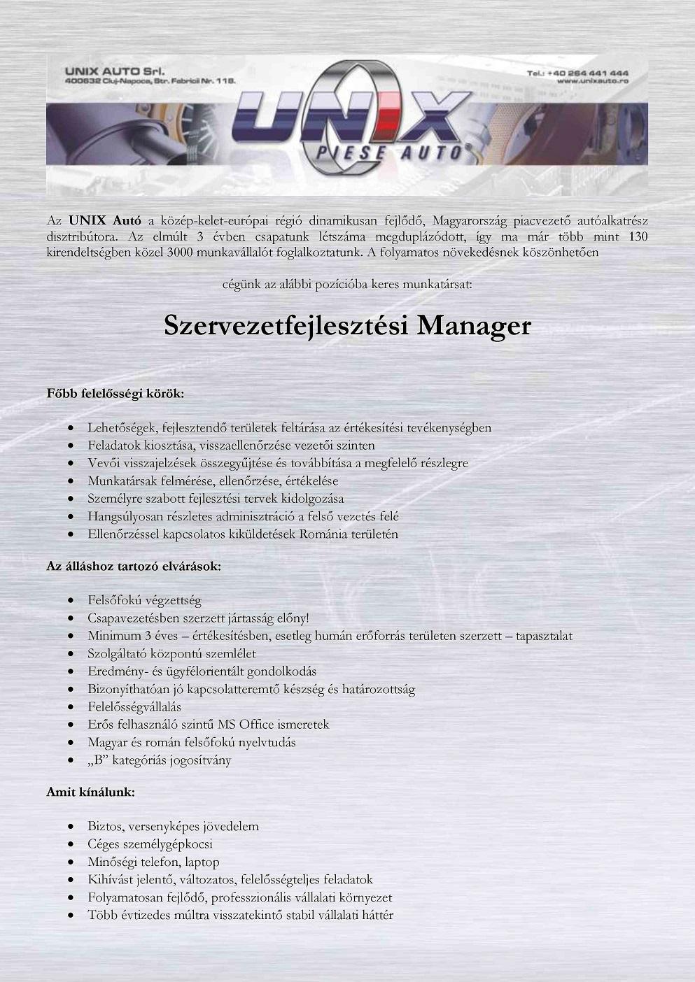 Szervezetfejlesztési Manager