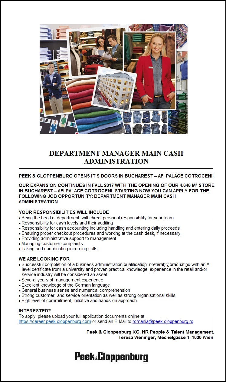 Department Manager Main Cash Administration