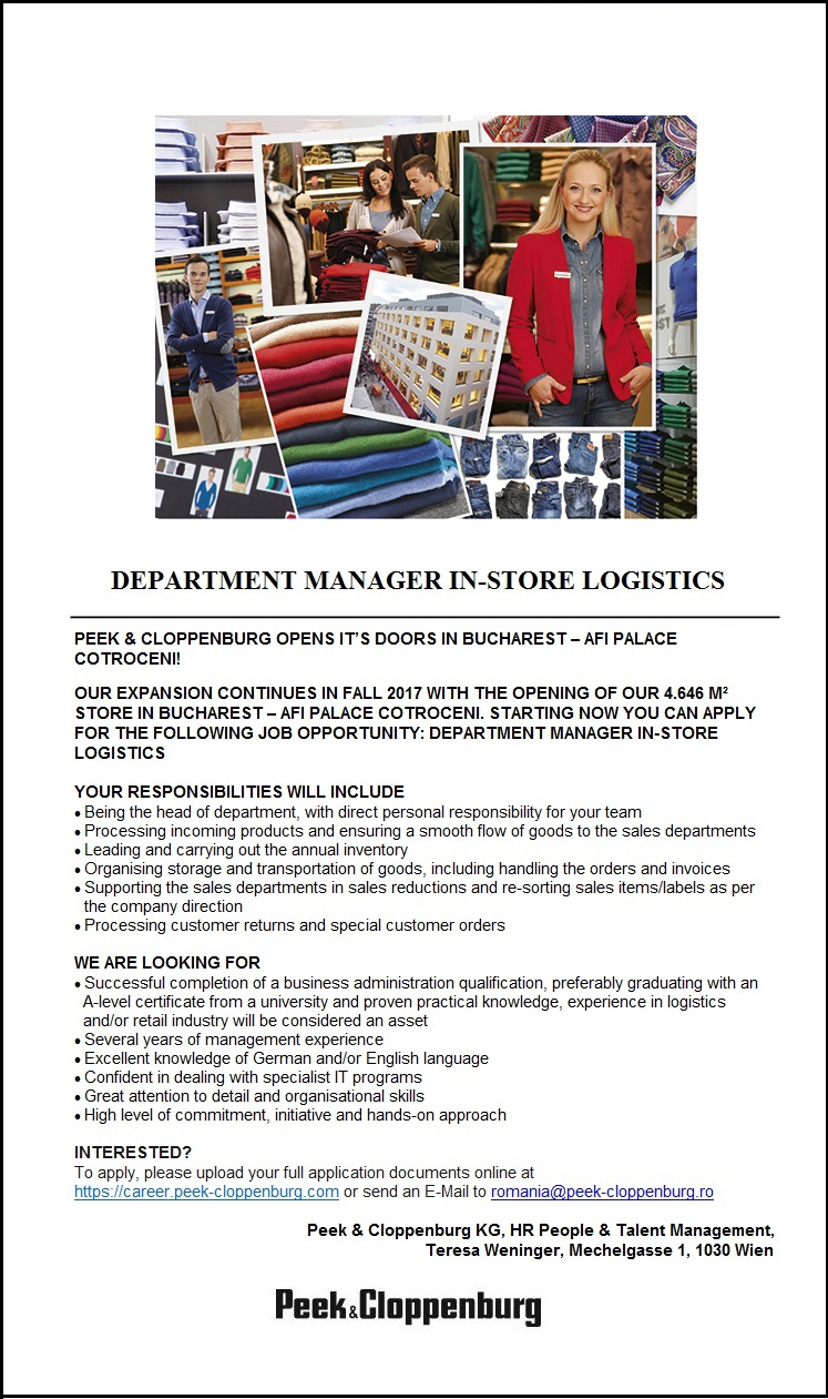 Department Manager In- Store Logistics