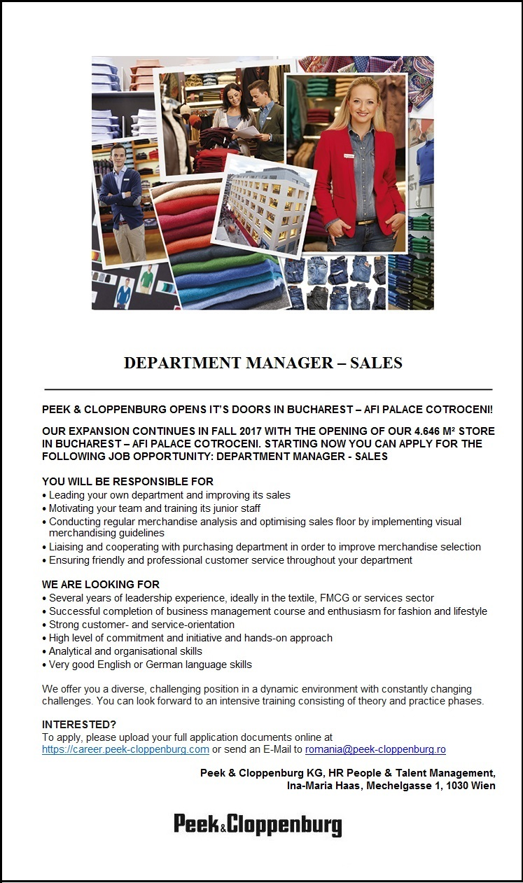 Department Manager- Sales