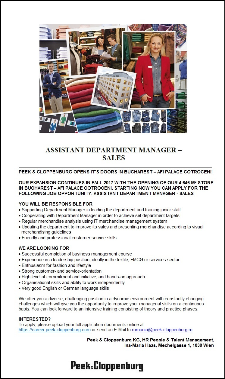 Assistant Department Manager - Sales