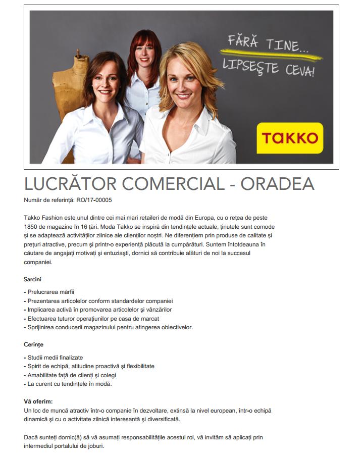 LUCRĂTOR COMERCIAL -  ORADEA