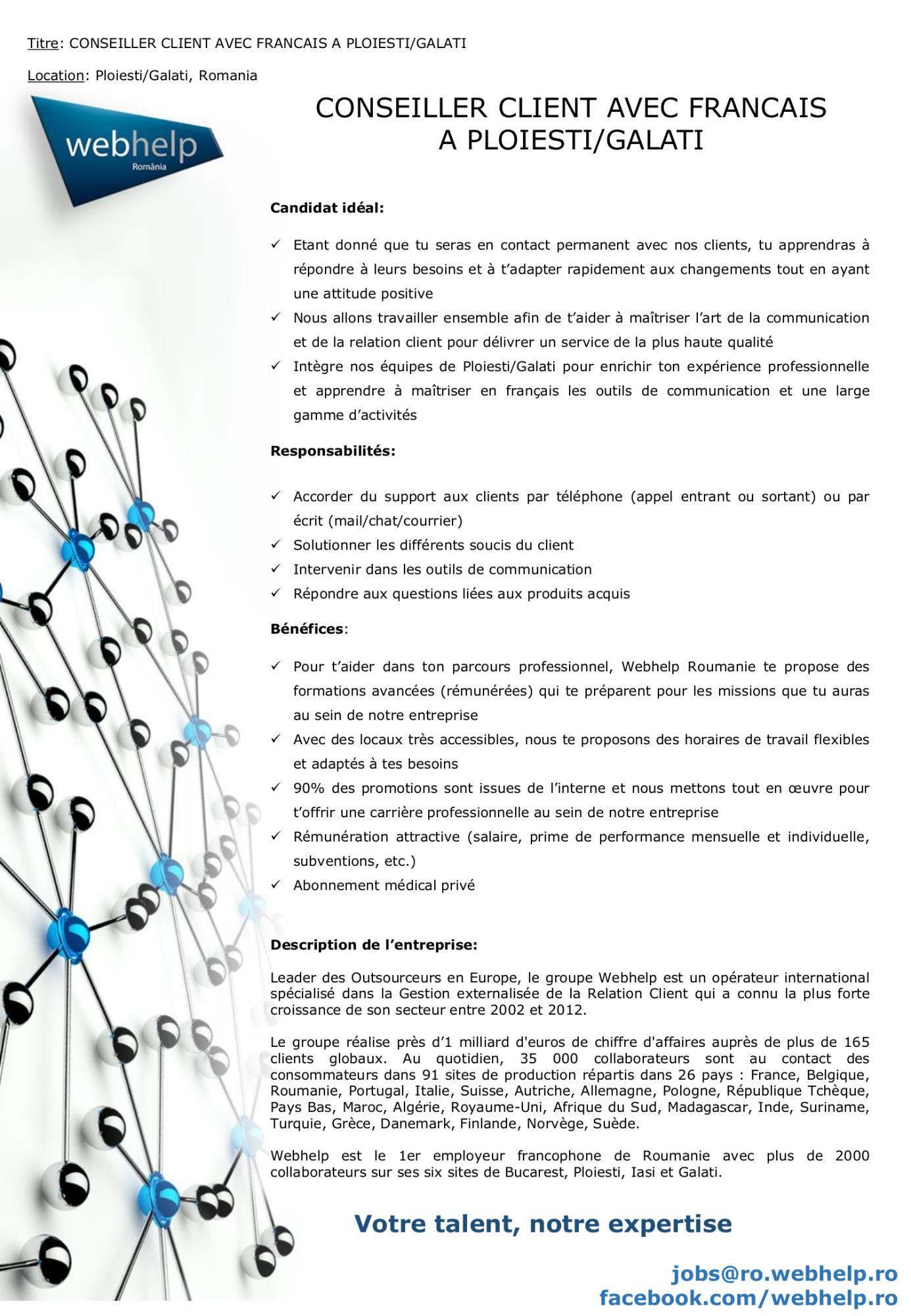 CONSEILLER CLIENT AVEC FRANCAIS A PLOIESTI/GALATI