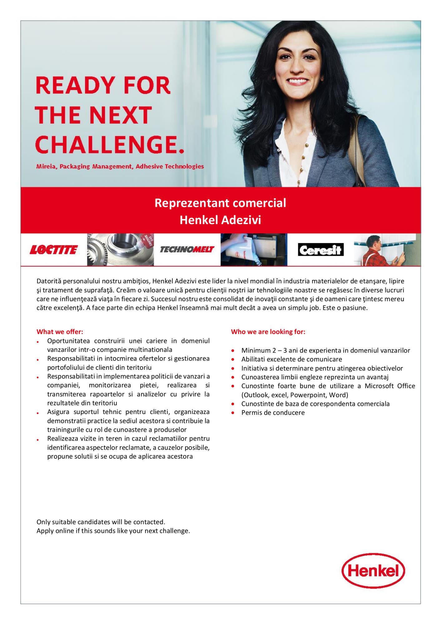 Reprezentant comercial - Henkel Adezivi