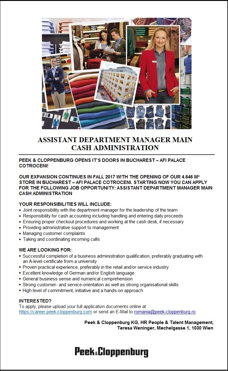 ASSISTANT DEPARTMENT MANAGER MAIN CASH ADMINISTRATION