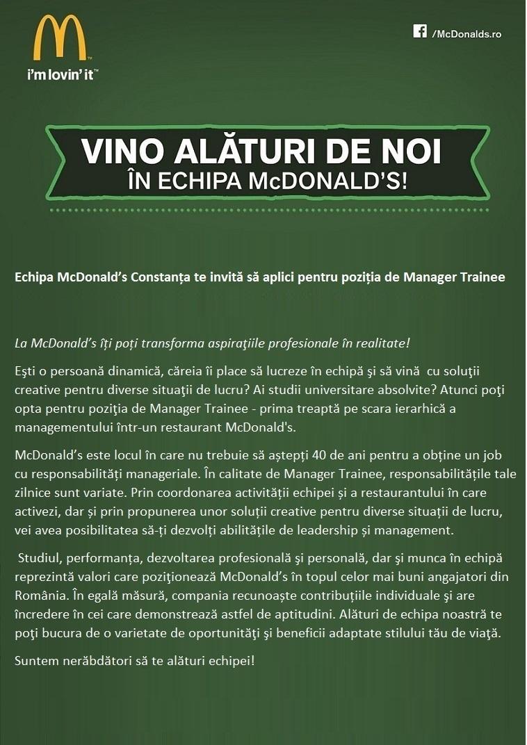 Manager Trainee McDonald's - Constanța