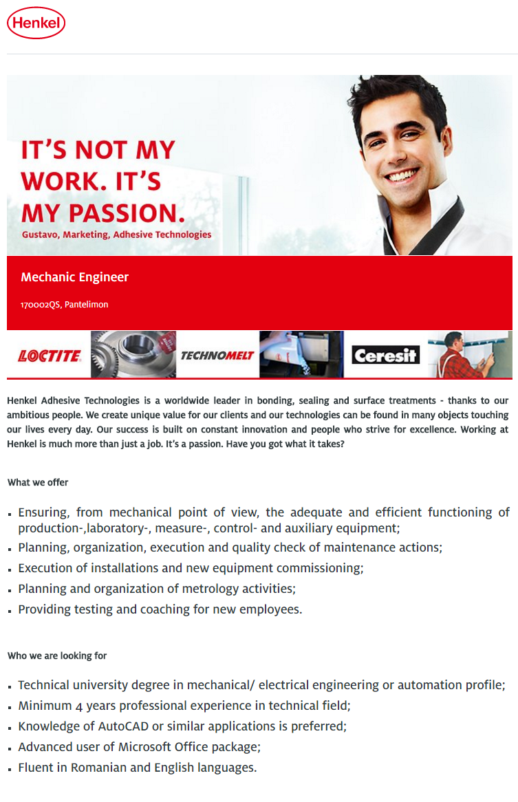 Mechanic Engineer (m/f) - Pantelimon, Romania