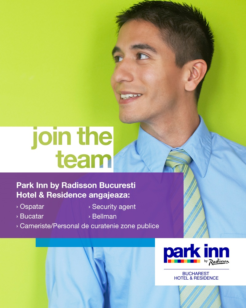 Say YES! to a new CAREER at Park Inn by Radisson Bucharest Hotel & Residence, a 4 star hotel, part of Rezidor Hotel Group! Feel free, be different, dare more! At Park Inn by Radisson we are always on the look-out for new people that understand the important role they play in delivering our promise of quality and hospitality spirit to our guests and colleagues. Park Inn by Radisson Bucharest Hotel & Residence offers stylish, comfortable accommodation. The 210 rooms and apartments welcome travelers to relax on plush furnishing and to take advantage of convenient amenities like free Wireless High-speed Internet, iron and ironing board and tea/coffee making facilities. Take advantage of convenient on-site dining at the Sharkia restaurant, where you can enjoy international and East Mediterranean cuisine paired with drinks from the lobby bar. Premier meeting facilities include four rooms equipped with audiovisual equipment and a pre-function space. The Park Inn's proximity to the Radisson Blu allows guests to enjoy additional restaurants such as Caffé Citta, specializing in Italian cuisine and Prime Steaks & Seafood. Bla Lounge Bar and Dark Bla are open late and serve cocktails and spirits. And the Pool Side Grill restaurant and Beach Bar are open in summer. The interior garden features an outdoor pool, a large Jacuzzi, patio and a jogging track as well as free access to World Class Health Academy. Within the hotel, you can also find Romania's biggest casino, Platinum Casino as well as several exclusive shops. We are here now and we are happy to welcome you in our team! Our recruitment team assures high confidentiality for all applications. All suitable candidates will be contacted.