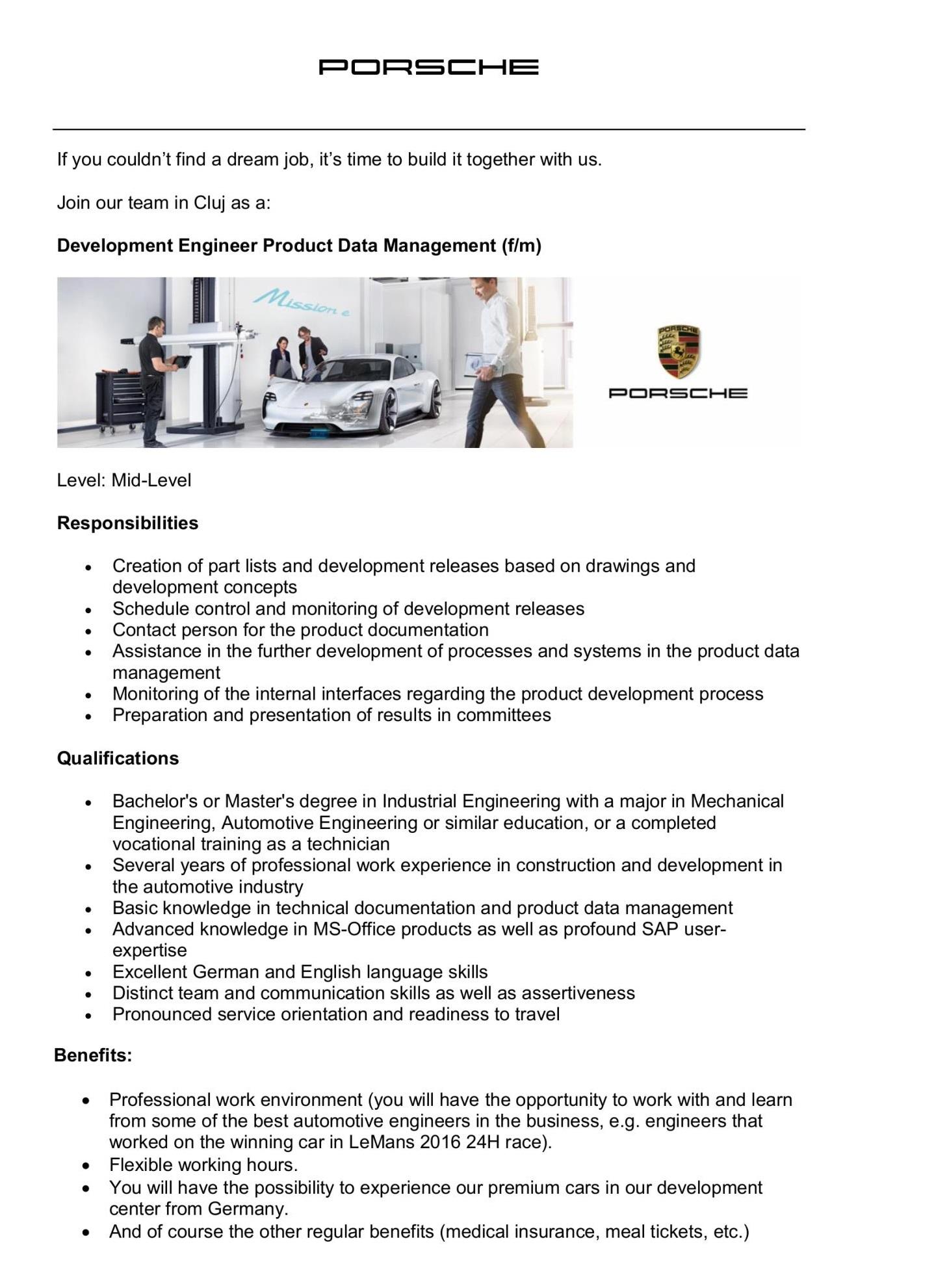 Development Engineer Product Data Management (f/m)