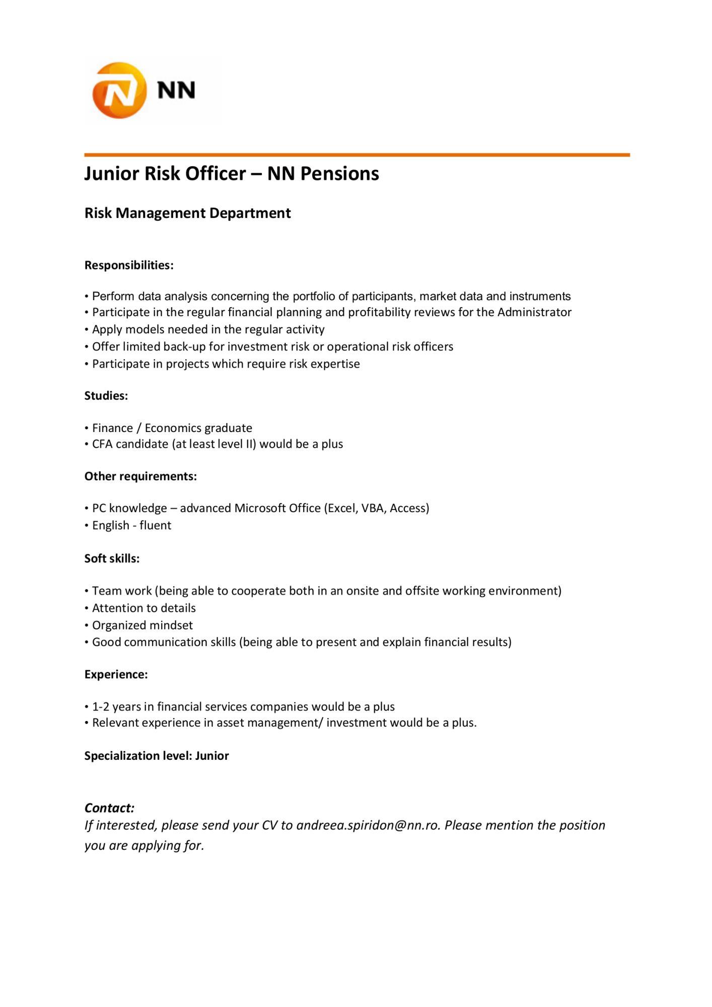 Junior Risk Officer – NN Pensions